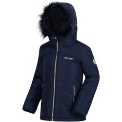 Clothing Children coats Regatta Westhill Fur Trim Quilted Hooded Jacket Blue Blue