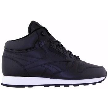 Shoes Men Hi top trainers Reebok Sport CL Leather Mid Basic Black,Navy blue