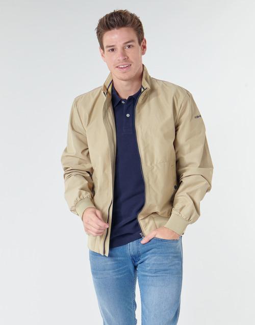 Clothing Men Jackets Geox VINCIT BOMBER JACKET Beige