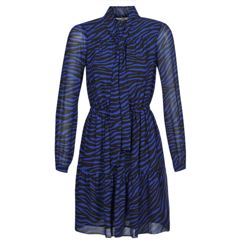 Clothing Women Short Dresses MICHAEL Michael Kors BOLD BENGAL TIER DRS Blue / Black