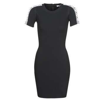 Clothing Women Short Dresses MICHAEL Michael Kors CIRCLE MK TAPE DRES Black