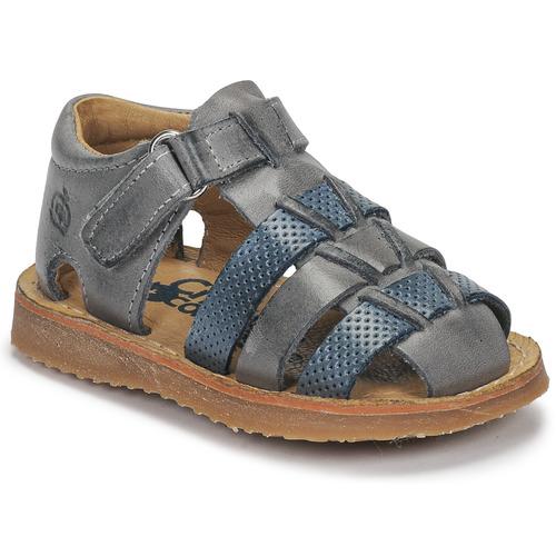 Shoes Boy Sandals Citrouille et Compagnie MISTIGRI Grey / Blue