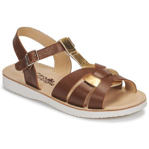 Shoes Girl Sandals Citrouille et Compagnie MINOTTE Brown / Gold