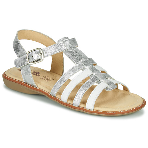 Shoes Girl Sandals Citrouille et Compagnie GROUFLA Silver / White