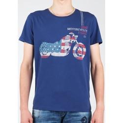 Clothing Men short-sleeved t-shirts Wrangler S/S Biker Flag Tee W7A53FK 1F granatowy