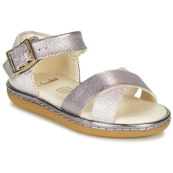 Shoes Girl Sandals Clarks SKYLARK PURE T Silver / Pink