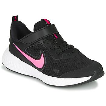 Shoes Girl Multisport shoes Nike REVOLUTION 5 PS Black / Pink