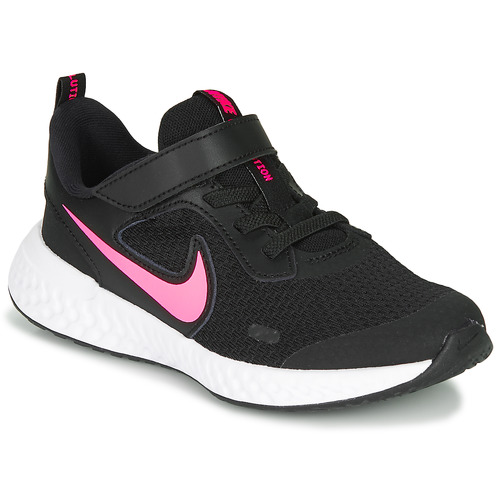 Shoes Girl Low top trainers Nike REVOLUTION 5 PS Black / Pink