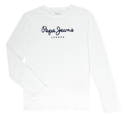 Clothing Boy Long sleeved tee-shirts Pepe jeans NEW HERMANN White