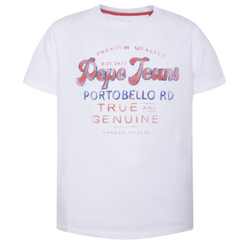 Clothing Boy short-sleeved t-shirts Pepe jeans ALBERT White