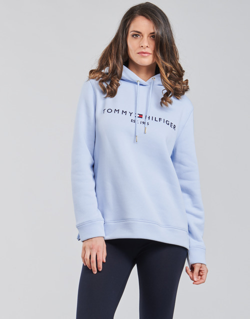 Clothing Women Sweaters Tommy Hilfiger TH ESS HILFIGER HOODIE LS Blue / Sky