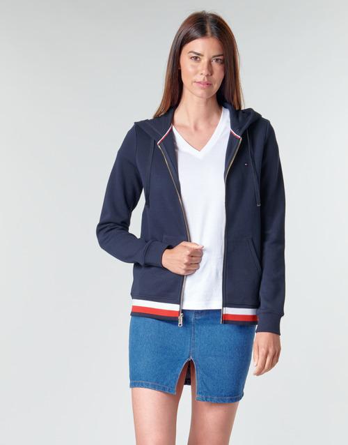 Clothing Women Sweaters Tommy Hilfiger HERITAGE ZIP THROUGH HOODIE Marine