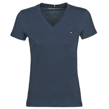 Clothing Women short-sleeved t-shirts Tommy Hilfiger HERITAGE V-NECK TEE Marine