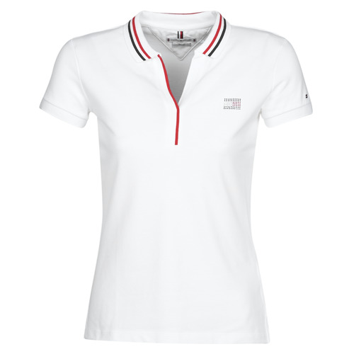 Clothing Women short-sleeved polo shirts Tommy Hilfiger AILA SLIM POLO White / Stripe / Col