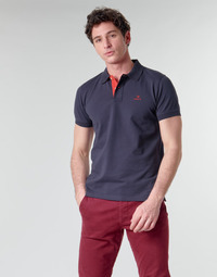 Clothing Men Short-sleeved polo shirts Gant GANT CONTRAST COLLAR PIQUE POLO Marine / Red