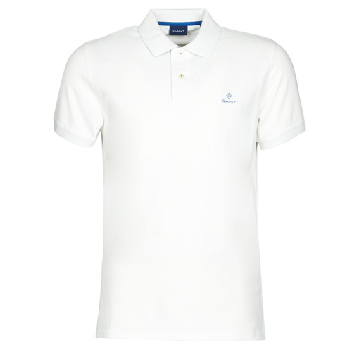 Clothing Men Short-sleeved polo shirts Gant GANT CONTRAST COLLAR PIQUE POLO White / Blue