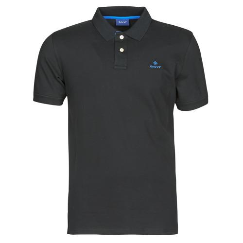Clothing Men Short-sleeved polo shirts Gant GANT CONTRAST COLLAR PIQUE POLO Black / Blue