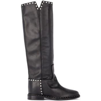 Shoes Women High boots Via Roma 15 boot in black leather with studs Black