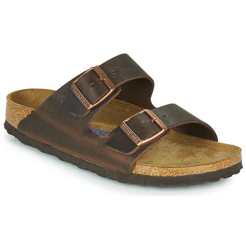 Shoes Women Mules Birkenstock ARIZONA SFB LEATHER Brown