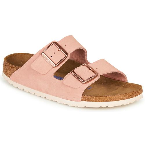 Shoes Women Mules Birkenstock ARIZONA SFB LEATHER Pink