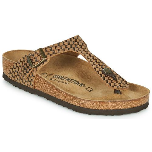 Shoes Women Flip flops Birkenstock GIZEH LEATHER Brown