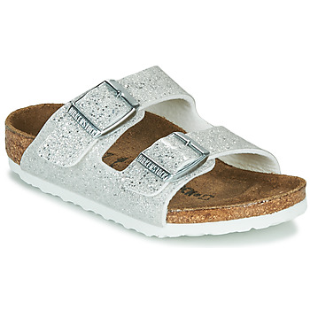 Shoes Girl Mules Birkenstock ARIZONA White / Silver