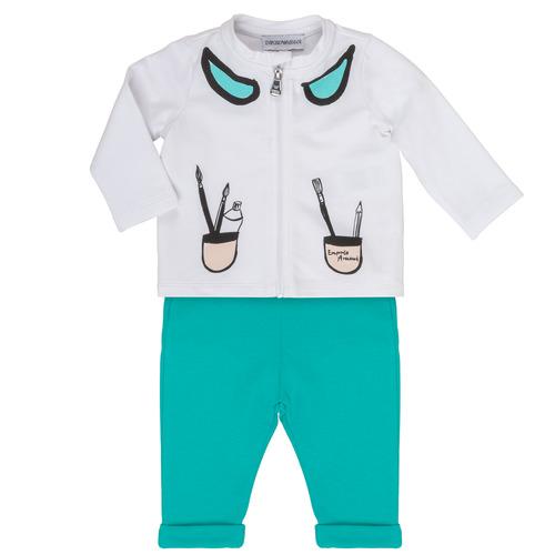 Clothing Girl Sets & Outfits Emporio Armani Aubin White / Blue