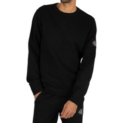 Clothing Men Sweaters Calvin Klein Jeans Monogram Sleeve Badge Sweatshirt black