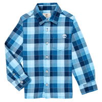 Clothing Boy long-sleeved shirts Timberland AUGUST Blue