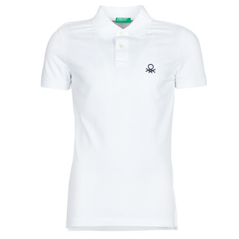 Clothing Men Short-sleeved polo shirts Benetton PONI White