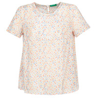 Clothing Women Tops / Blouses Benetton DANIEL White / Multicolour
