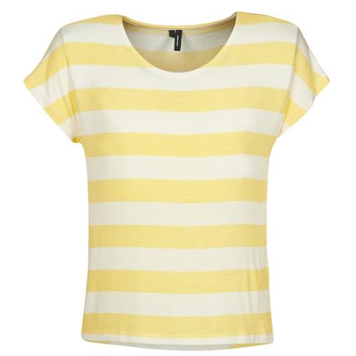 Clothing Women short-sleeved t-shirts Vero Moda  Yellow / White