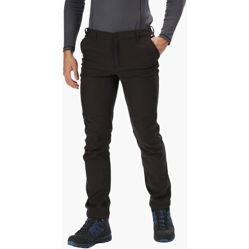 Clothing Men Trousers Regatta Men's Fenton Multi Pocket Softshell Walking Trousers Black