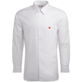Clothing Men long-sleeved shirts Comme Des Garcons Comme Des Garcons PLAY shirt in white cotton with mini heart White