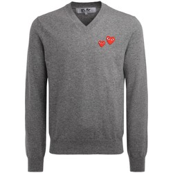 Clothing Men jumpers Comme Des Garcons sweater with gray V-neck with red mini Grey