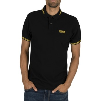 Clothing Men short-sleeved polo shirts Barbour International Essential Tipped Polo Shirt black