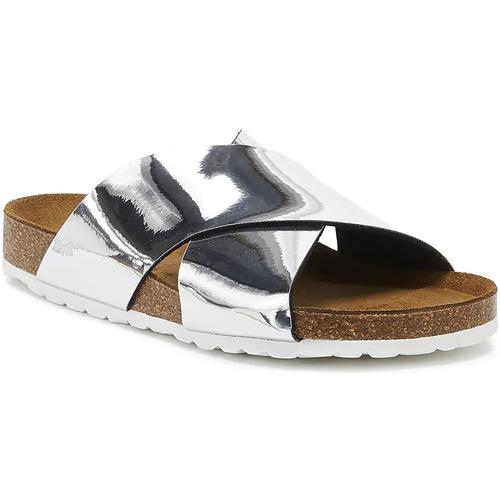 Shoes Women Sandals Tower London Mimosa Womens Silver Metallic Slides Silver