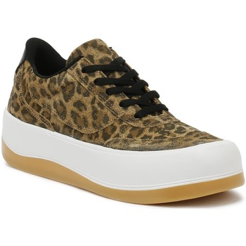 Shoes Women Fitness / Training Tower London Hoxton Womens Leopard Trainers Light Brown