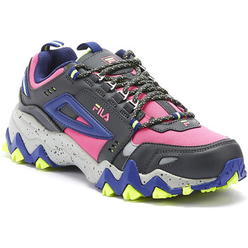 Shoes Women Fitness / Training Fila Oakmont Trail Womens Pink Glo / Blue Trainers Pink