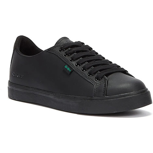 Shoes Fitness / Training Kickers Youth Black Leather Tovni Lacer Trainers Black