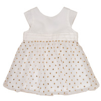 Clothing Girl Short Dresses Petit Bateau FAVORITE White / Yellow