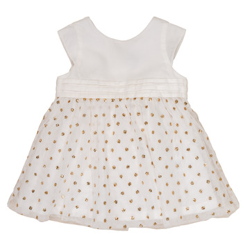 Clothing Girl Short Dresses Petit Bateau FAVORITE White / Gold