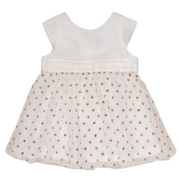 Clothing Girl Short Dresses Petit Bateau FAVORITE White / Gold