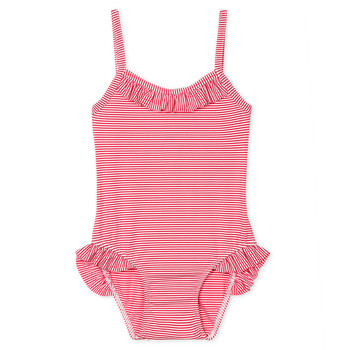 Clothing Girl Swimsuits Petit Bateau FIKA Pink / White