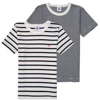 Clothing Boy short-sleeved t-shirts Petit Bateau 53333 White / Blue