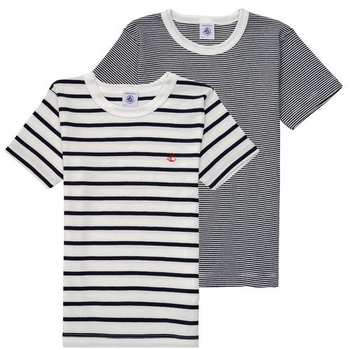 Clothing Boy Short-sleeved t-shirts Petit Bateau 53333 White / Blue