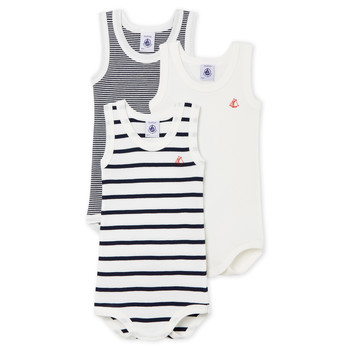 Clothing Children Sleepsuits Petit Bateau 53729 White / Blue