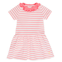 Clothing Girl Short Dresses Petit Bateau FOREST White / Pink