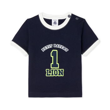 Clothing Boy short-sleeved t-shirts Petit Bateau FUDGE Blue