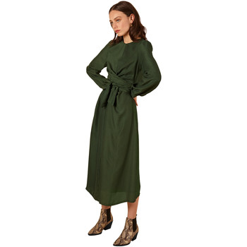 Clothing Women Long Dresses Frnch Belted Long Sleeve Dress ABELIE Green